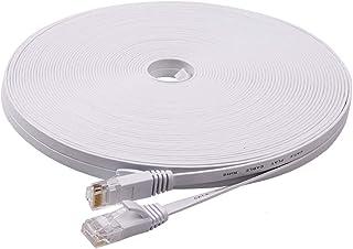 LANケーブル 20m 有線ケーブル ランケーブル フラットタイプ CAT6準拠 有線lanケーブル RJ45コネクタ フラットケーブル サーバー 企業様向け 業務用 屋外用 カテゴリ6(ホワイト) …