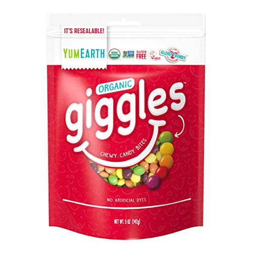 YumEarth Organic Giggles Chewy Candy, Fruit Flavored, 5 oz, 6 count - Allergy Friendly, Non GMO, Gluten Free, Vegan