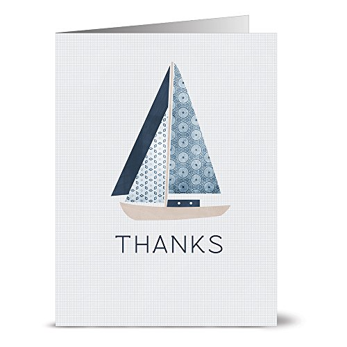 Note Card Cafe Thank You Cards with Envelopes | 36 Pack | Blank Inside, Glossy Finish | Nautical Sailboat Design | Set for Greeting Cards, Occasions, Birthdays, Gifts