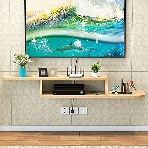 Mueble de TV Flotante, Tienda de Tableros Multicapa de Madera Maciza Enrutador Wifi Decodificadores Consola Multimedia, para Sala de Estar Dormitorio/Wood color / 120cm