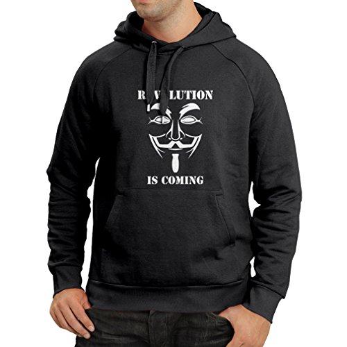 lepni.me Felpa con Cappuccio La Rivoluzione Sta Arrivando Legione di Hacker Anonimi V per Vendetta (Large Nero Fluorescente)