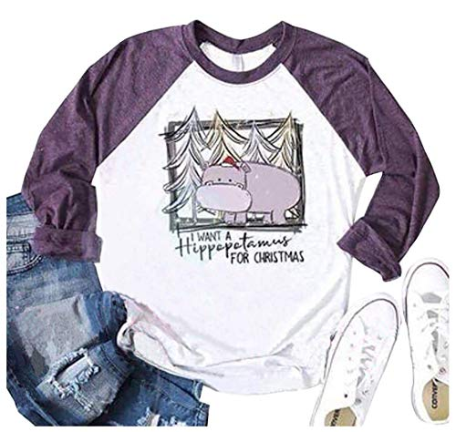 Women I Want A Hippopotamus Christmas Baseball T-Shirt Casual Raglan 3/4 Sleeve Graphic Holiday Tees Tops(Purple, XL)