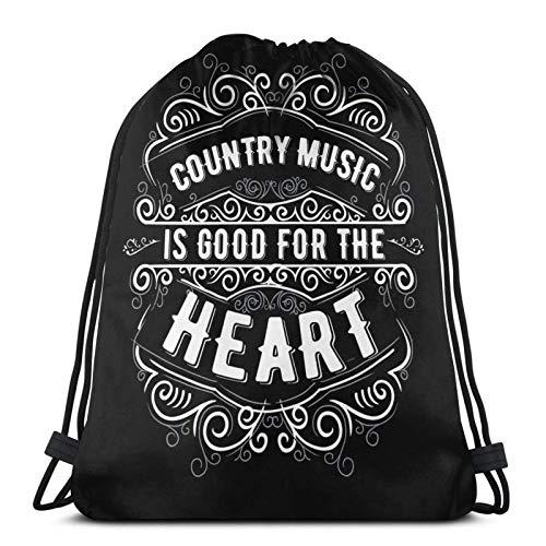 WH-CLA Rucksack Mit Kordelzug Country-Musik Herz Gitarre Rodeo Nashville Roadtrip Cowboy Yoga Outdoor Kordelzug Rucksack Leichter Fitness-Sack Reiseanime-Druck Gedruckt Lässige Männer SPO
