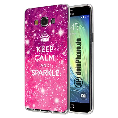 deinPhone Samsung Galaxy A7 (2017) Silikon Hülle Case Keep Calm Glitzer