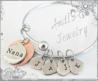 Nana/Grandma Copper back Charm Bracelet, Heart initials of Grandchildren, Gift for Nana, Gift for Grandma, Grandchildren Initial Bracelet