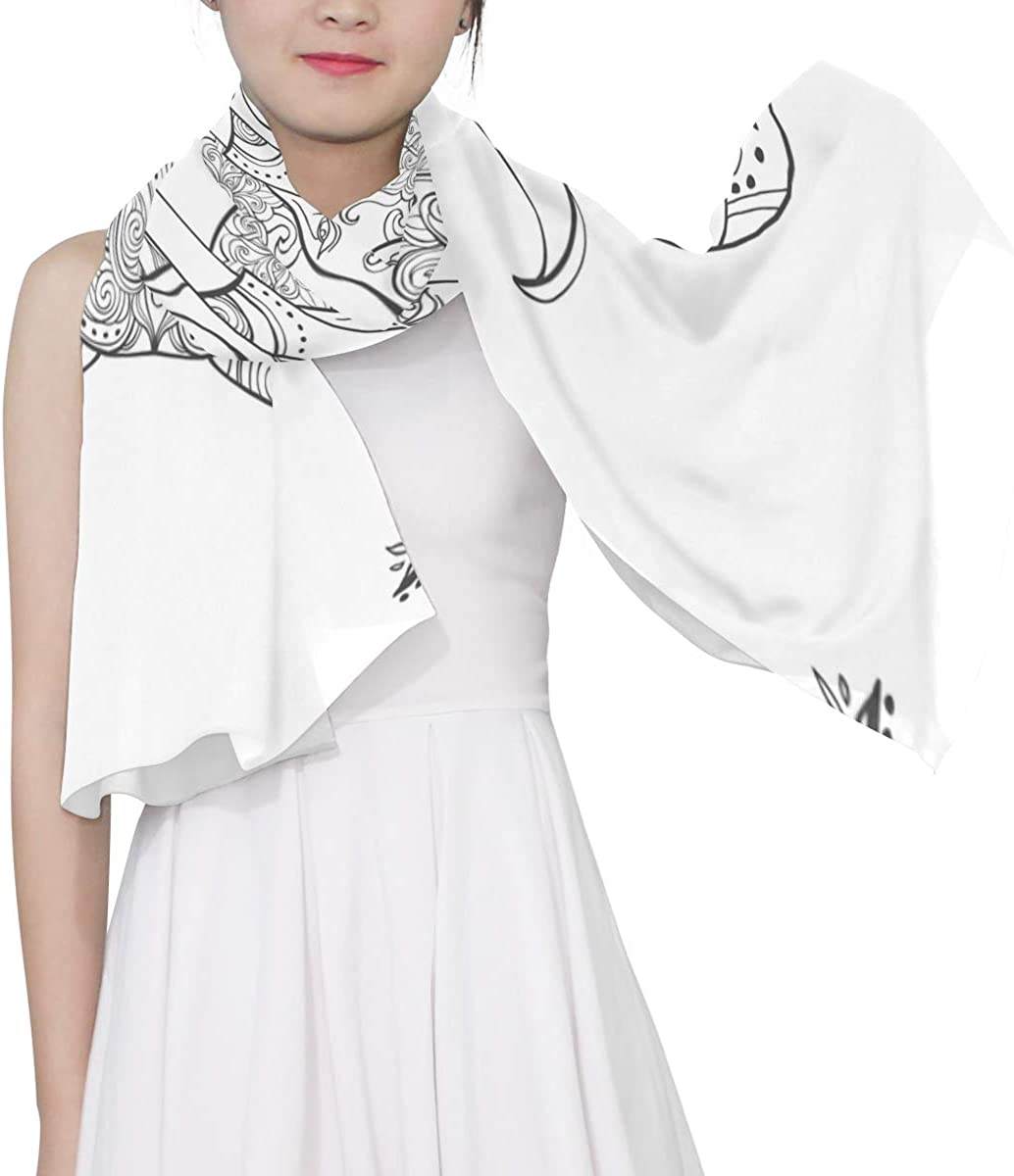 Lines Make Up Elephant Unique Fashion Scarf For Women Lightweight Fashion Fall Winter Print Scarves Shawl Wraps Gifts For Early Spring