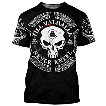 Skull Viking Tattoo Style 3D All Over Printed Warrior Raven Nordic Tattoo Tshirt Viking Gifts for Men Odin Shirt Wool