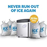 NewAir Portable Ice Maker 50 lb. Daily - Countertop Design - 3 Size Bullet Shaped Ice - AI-215SS - Stainless Steel