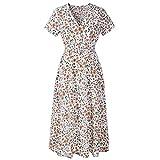 Falda de Playa de Primavera y Verano Vestido de Manga Corta con Cuello en V Estampado Falda Bohemia