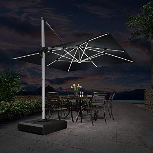 PURPLE LEAF 300 x 300 cm, sombrilla LED con iluminación solar, diseño de doble techo, rotación de 360°, 8 piezas, 6 niveles ajustables, protección UV 50+, cuadrada, color gris