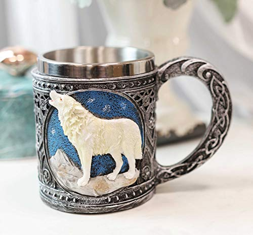 Ebros Gift Celtic Magic Knotwork Direwolf White Snow Wolf Howling By Mountain Starry Night Sky Beverage Drinkware Serveware With Stainless Steel Cup Liner Figurine (Wine Goblet And Coffee Mug Set)