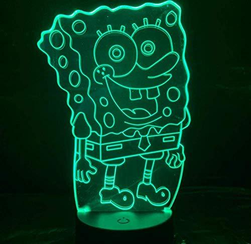 3D Nachtlicht SpongeBob Schwammkopf Nachtlicht LED 3D Illusion Zimmer Dekorative Lampe Kind Kinder Baby Nachtlicht Cartoon Tischlampe Schlafzimmer