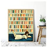 Kissherely I Saw Her in The Library Canvas Print Watercolor Art Canvas Painting Cartoon Wall Pictures for Living Room Home Decor -60X80cm Frameless