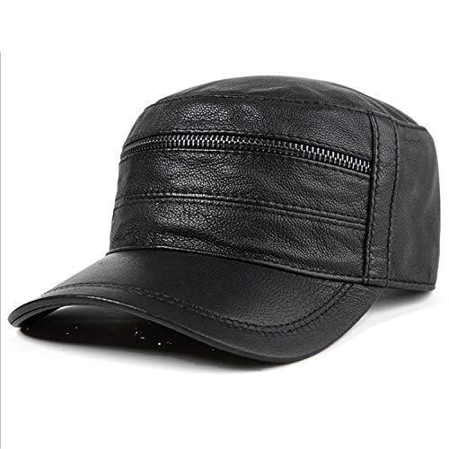 KCBYSS Hat Leder Male Herbst-Winter-Mode Baseball Cap Level Top (Color : Black, Size : Adjustable)