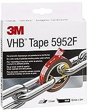 3M VHB 5952F Montage tape dubbelzijdig - sterke en duurzame verbinding van metaal, gepoedercoate lakken, glas, verzegeld hout, ABS - 19 mm x 3 m, zwart, dikte: 1,1 mm (1 stuks)