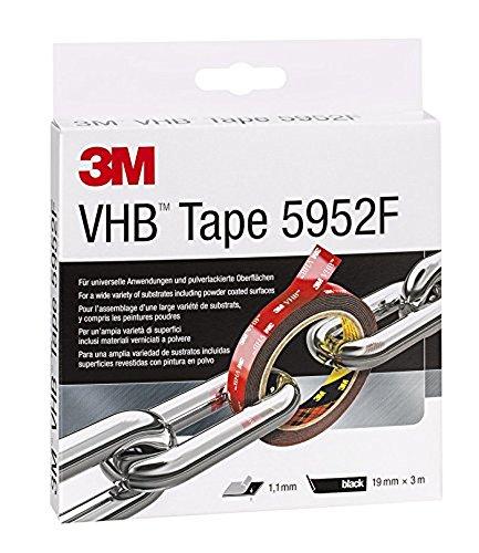 3M VHB 5952F Klebeband doppelseitig, Starke dauerhafte Verbindung von Glas, Kunstoffen etc., Schwarz, 19 mm x 3 m