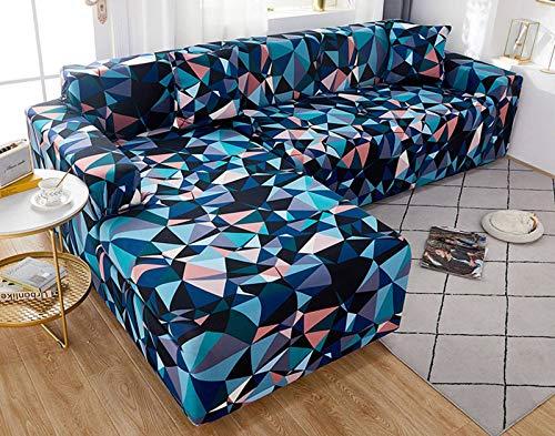 SLOUD Funda de sofá en Forma de L, Antideslizante, Resistente, Lavable a máquina, Protector de Muebles, Fundas Modernas para sofá de Esquina, con 2 Fundas de Almohada-E-En Forma de l 3+4 plazas
