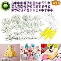 Buluri 84 Piezas Fondant Cortadores - Bricolaje Fondant Cake Decorating Sugarcraft Tools Kits - Para Decorar Pasteles, Fondant, Galletas De Jarabe,Galletas, Azúcar, Chocolat