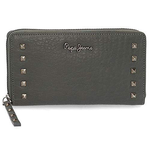 Pepe Jeans Alessia Brieftasche mit Reißverschluss Grau 18x10x2 cms Leder
