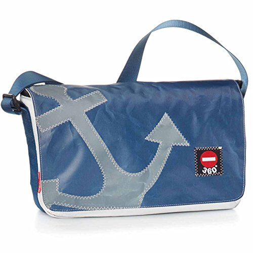 360° Barkasse Mini Segeltuchtasche, Recycling Laptoptasche bis 13'' Zoll, Umhängetasche weiß blau, Anker grau Crossover, Messengerbag