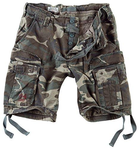 Surplus Herren Airborne Vintage Cargo Shorts, Woodland, Gr. 3XL