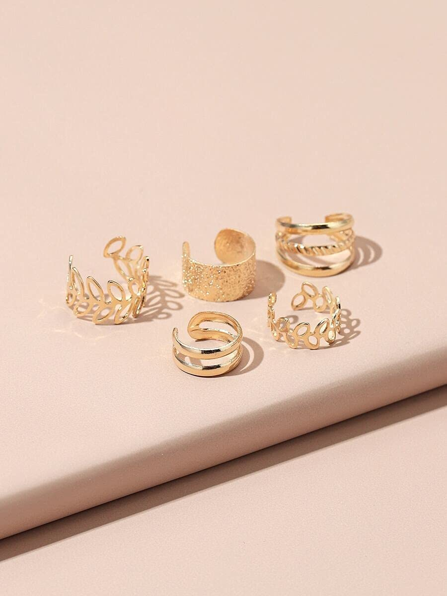 frenma Hoop Earrings 5pcs Hollow Out Ear Cuff (Color : Gold)