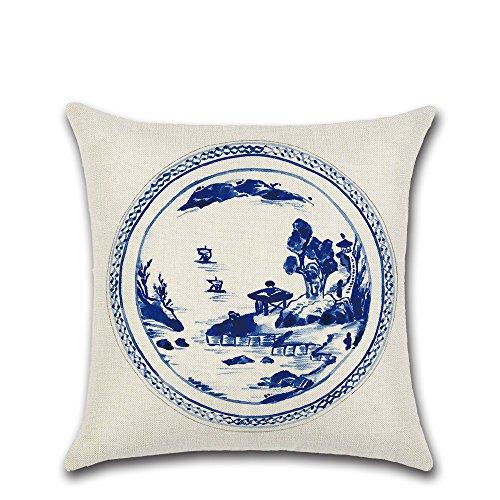 Housse de coussin décorative chinois Bleu et blanc porcelaine Imprimer Oreiller Housse de coussin de canapé Motif Coussin Cas Tenue 3 imprimée Housse de salon Landschaft