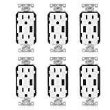 Leviton T5632-W 6 Pack 15 Amp Combination Duplex Decora Receptacle and USB Charger/Tamper Resistant, White