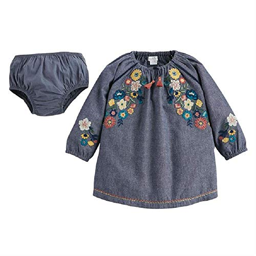 Mud Pie Baby Girls' Long Sleeve Dress, Chambray, 9-12 Months