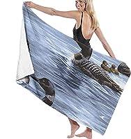 バスタオル ルーンダックアニマルビーチタオル人格プール水特大バスタオル80x130 cm