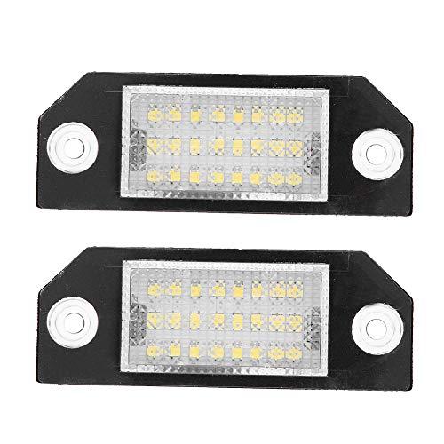 Qiilu 2pcs 24 LED Temperatura de color 6000k Beads Matrícula Lámpara de luz LED para C-MAX Focus MK2