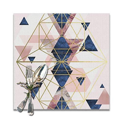 Juego de 6 manteles individuales de color rosa y azul marino con diseño geométrico de perfección, lavables y antideslizantes, cuadrados, 30,5 x 30,5 cm, para cocina, comedor, decoración del hogar