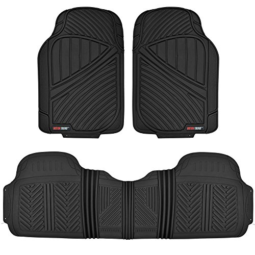 Motor Trend FlexTough Performance All Weather Rubber Car Floor Mats – 3 Piece Odorless Floor Mats for Cars Truck SUV, BPA-Free Automotive Floor Mats, Heavy-Duty Waterproof Liners (Black)