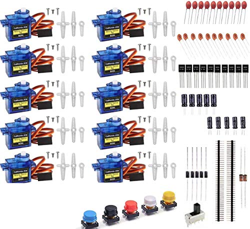 JOS 10 Pcs SG90 9G Micro Servo Motor Kit for RC Robot Arm/Hand/Walking Helicopter Airplane Car Boat Control with Cable, Mini Servos Arduino Project(Bundle 3)