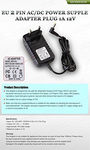 XTRONS®EU 2 PIN AC DC Adapter Netzteil 1A 12V 1M für Kopfstützen DVD Player HD101 HD101T CD Player PDA Radios MP3 Spieler Taschenrechner Handspielsysteme