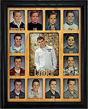Northland School-Years Picture Frame Personalized - Holds Twelve 2.5  x 3.5  School Photos and 5  x 7  Kindergarten to Graduation Picture Black Frame Oak Mat Customizable with Any Name