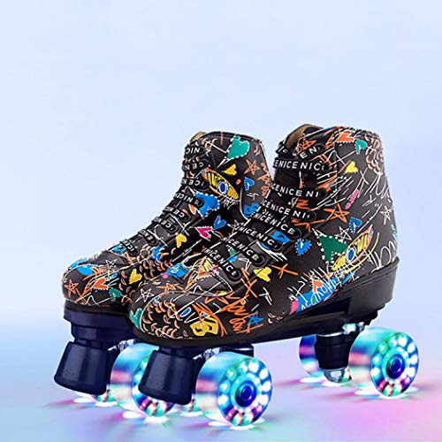 Roller Skates Classic High-top for Adult Outdoor Skating Light-Up Four-Wheel Roller Skates Shiny Roller Skates for Women (Black Flash Wheel,10)