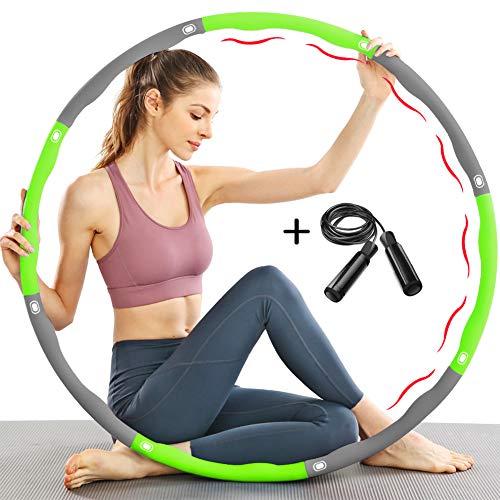 TTMOW Fitness Hula Hoop Reifen zur Gewichtsreduktion mit Schaumstoff Gewichten Einstellbar von 1,65 bis 2,2 lb für Erwachsene und Kinder, mit Geschenk Springseil (Grün)