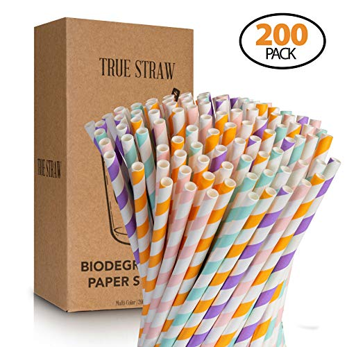 BB STRAWS 200-Pack Biodegradable Paper Straws - Striped Eco-Friendly Compostable Drinking Straws for Smoothies, Shakes, Party Supplies, Decorations, Weddings and Birthdays -7.75 Inches Long
