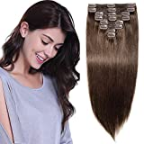 Clip in Extensions Echthaar Haarteile 7A Remy günstig Haarverlängerung für komplette Haarextensions 8 Teile Doppelt Dicke Glatt 60cm-170g(#2 Dunkelbraun)
