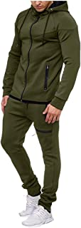 WOCACHI Mens Tracksuit 2PC Set Patchwork Sweatshirt Jogger Sweatpants Solid Hooded Sports Suit