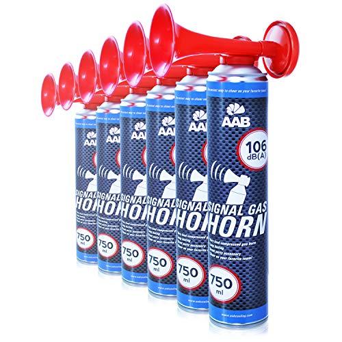 AABCOOLING Signal Gas Horn 750ml - 2 Pièces - Extraordinaire Klaxon Corne de Brume de Air Comprimée, Corne de Brume, Trompette Supporter, Corne de Supporter, Corne de Brume à Gaz