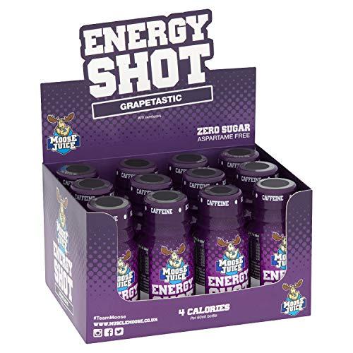 Muscle Moose – Moose Juice Energy Shots | Caffeine Drink, BCAA & B Vitamins, Zero Sugar, Aspartame-free, Grapetastic, 60ml (12 Shots)