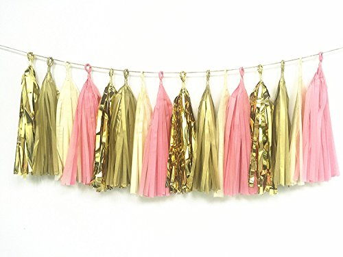 16 X Originals Group Coral Gold Apricot Tissue Paper Tassels for Party Wedding Gold Garland Bunting Pom Pom