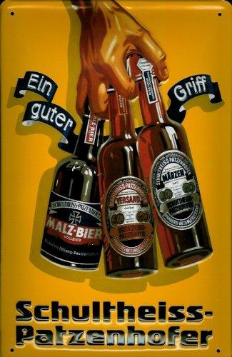 Blechschild Nostalgieschild Schultheiss Patzenhofer Bier EIN guter Griff Retro Bierwerbung