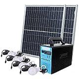 EWYI Generador De Energía Solar, Estación De Energía Portátil con 4 Lámparas De Ahorro De Energía Fuente De Alimentación De Batería De Litio De Emergencia De Respaldo Sol