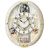 セイコー クロック 掛け時計 ミッキーマウス 電波 アナログ からくり 12曲 メロディ 回転飾り ミッキー&フレンズ Disney Time ディズニータイム 白 マーブル 模様 FW580W SEIKO