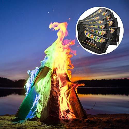 MonsterCadeaux - Poudre pour colorer Les Flammes - Feu Multicolore et Mystique - Mystical Fire - Gadget de Camping et de cheminée - Lot de 10 sachets