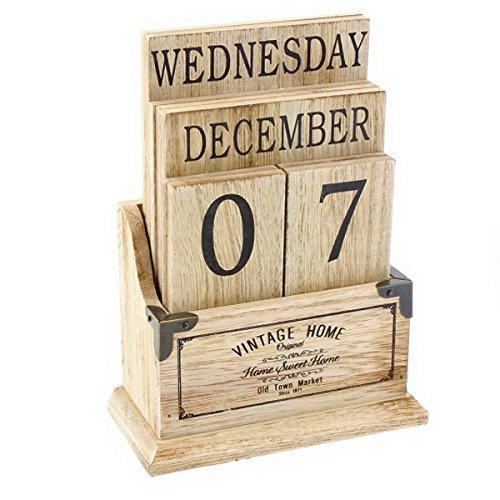 Vintage Holz ewiger Kalender-Schreibtisch Top Ewig Kalender Blocks