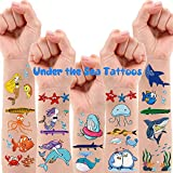 200 PCS Ocean Theme Temporary Tattoos for Kids, Beach Pool Under The Sea Decorations Birthday Party Supplies Favors, Fake Tattoos With Mermaid Shark Tropical Fish Whale for Boys and Girls - 12 Sheets